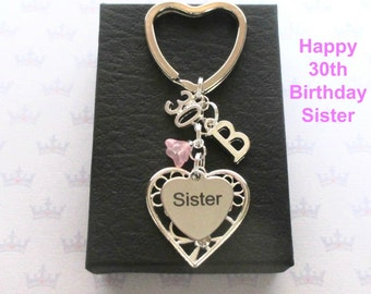 Sister 30th birthday gift - 30th keychain - Sister gift - Personalised 30th keyring - Personalised sister keyring - Sister keychain - UK
