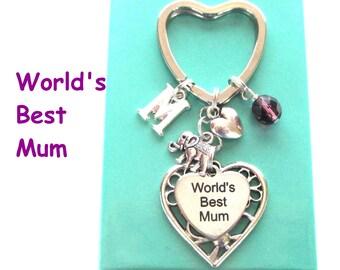 World's Best Mum keyring - Gift for Mum - Elephant keyring - Personalised Mother's Day gift - Mum gift - Birthstone keyring - Etsy UK