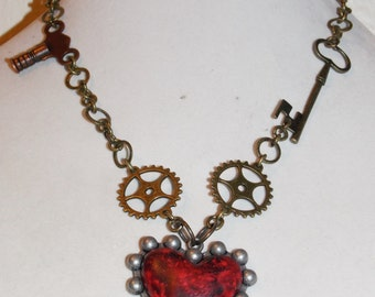 Steampunk Heart and Key Necklace