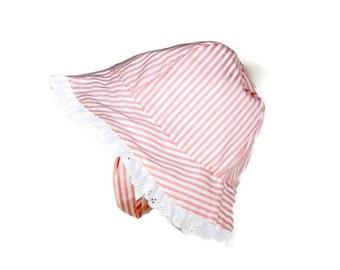 Girls summer hat, 12 to 36 months, pink striped hat, eyelet trimmed hat, girls sun hat, girls summer hat, chinstrap hat, toddler sun hat