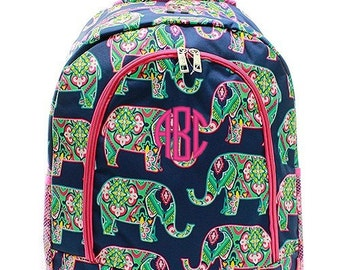 Personalized Elephant Backpack Monogrammed Bookbag Moroccan Pink Navy Blue Mint Girls Large Kids Tote School Bag Embroidered Monogram Name