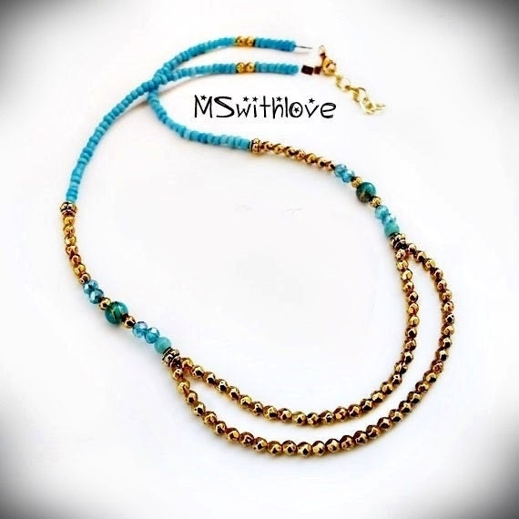 blue and gold necklace tribal turquoise necklace golden