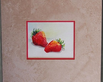 """Original Watercolor Painting """"Fresh Strawberries""""  - Matted and Ready to Frame - Camille Collins painting"""
