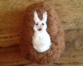 Chocolate brown Easter Egg White rabbit bunny wool needle felted Waldorf soft decoration ornament toy gift basket tree hunt cute Spring time