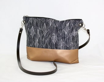 Leaves copper Crossdiv bag with leather handles