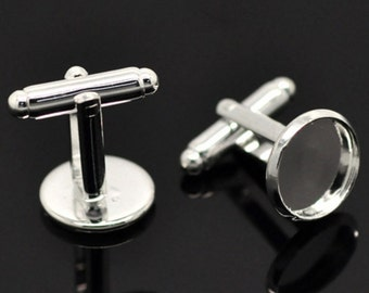 One pair of Silver Plated BLANK Cufflinks for 12mm Cabochon