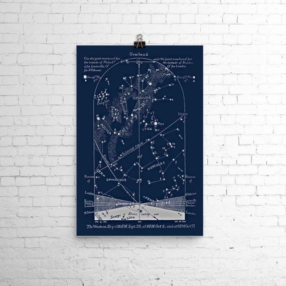 Wedding Star Chart: Items Similar To October Astronomy Art Print Star Map Sky