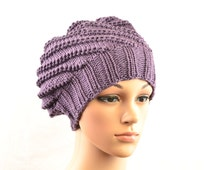 Cancer hat, chemo hat in plum / violet, knitted, eco friendly yarn, very soft beanie