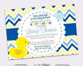 Rubber Duck Boy Printable Baby Shower Invitation (Ducky / Duckie Blue Yellow White Chevron Stripes)- Digital File