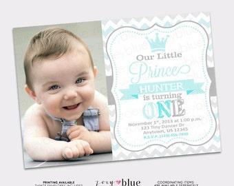 Little Prince Birthday Invitation Boy First Birthday Light Baby Blue Grey Zig Zag Chevron- Picture Printable Digital File