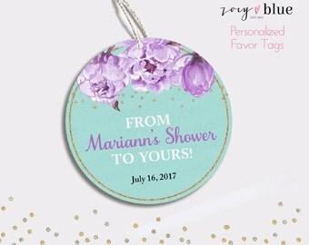 Peony Bridal Shower Favor Tag - Floral Baby Shower Thank You Tags - Bridal Brunch Favors - Baby Shower Gift Tags - Lilac Aqua - Digital File