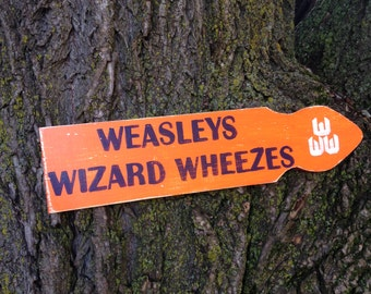 Weasleys Wizard Wheezes Distressed Wooden Directional Sign - Made to Order
