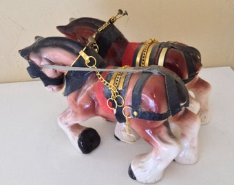 Rare Vintage Pair of Budweiser Clydesdale horse with Harness  from the 1950s- Bar Collectible