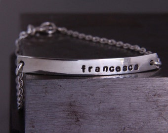 Personalised sterling silver bracelet.Custom made jewellery.hand made. Id bracelet.Personalised gift Hand stamped.Chain.Name,Initial.