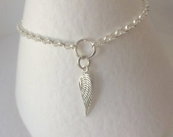 Sterling Silver Angel Wing Charm Bracelet, Silver Chain Charm Bracelet, Angel Wing Jewellery, Silver Angel Wing Bracelet, 925 Chain Bracelet