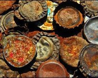 24-Pack, Tarnished Beer Bottle Caps--Used, Mostly Flat, Rusty, Aged
