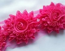 "shabby flower trim,3"" HOT PINK shabby GLITTER rose trim ,headband supplies, wholesale shabby flower  by the yard , embelishment flower"