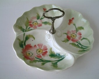 Antique french majolica cake plate with center handle. Pink flowers Majolica 3 part serving plate with center handle. Divided serving dish.