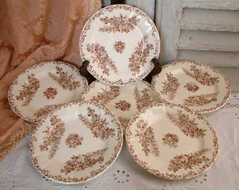 Set of 6 Antique french ironstone brown transferware dessert plates from Clairefontaine. French transferware. Brown transferware