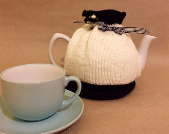 Tea Cosy - Hand Knitted Tea Cozy - Tea Pot Cosy - Teapot Warmer - Knitted Tea Cosy - Quirky Mothers Day Gift- Black and White Tea Cosy - Tea