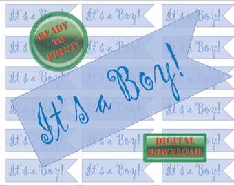 It's a Boy Cupcake Topper Printable Bunting 18 Flags Baby Shower Party DecorDigital Sheet Cake Topper Flags Gift Tags Scrapbook Decorations