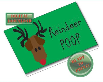 Reindeer Poop Printable Treat Bag Foldover Card Tags Christmas Gift Tags Red Green Holiday Party Gag Gift Favor Package Labels Digital Sheet