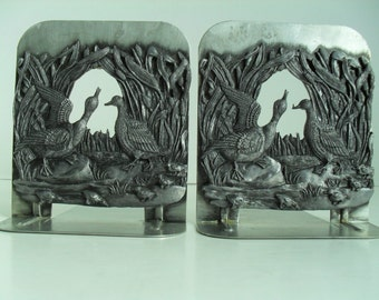 Vintage Duck Family Pewter Bookends by Metzke 1980 Made in USA