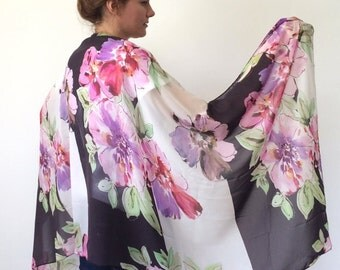Floral Sarong, Swimwear Wrap Pareo, Chiffon Scarf, Beach Cover Up, Summer Sarong, Oversize Pareo, Large Flowers Pareo, Gift, Designscope