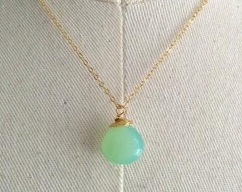 Mint Chalcedony Teardrop necklace