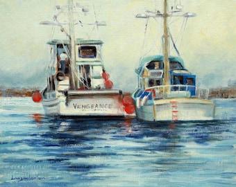 Seascape oil painting, 11 x 14 marine painting, impressionist, boats, fishing, working boats, sea, Monterey, original art by DJ Lanzendorfer