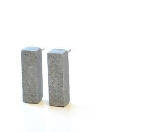 Concrete Column earring studs / Architectural Earrings / Cement Jewelry / Geometric earrings / Bold Earrings