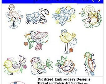 Embroidery Design CD - Ornamental Birds (1) - 10 Designs - 9 Formats - Threadart