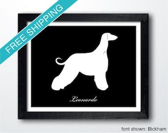 Personalized Afghan Hound Silhouette Print with Custom Name - Afghan Hound art, dog art, modern dog home decor