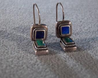 Vintage Sterling Silver Genuine Lapis & Malachite Earrings Jewelry Dangle **RL