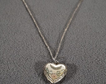 Vintage Pendant Charm Necklace Chain Sterling Silver Heart Hinged Locket Fancy Enameled Etched Design #1001 **RL