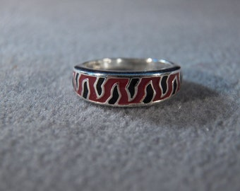 Vintage Sterling Silver Multi Fancy Enameled Wedding Band Ring, Size 5 **RL