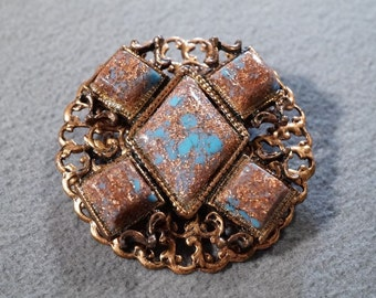 Vintage Copper 5 Large Square Marquise Glittery Copper Blue Glass Stone Fancy Scrolled Etched Filigree Round Design Pin Brooch    **RL