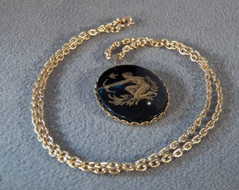 Vintage Goldtone Black Painted Porcelain Pendant with 24 inch Link Chain     **RL