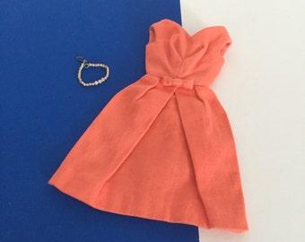 Vintage Barbie Fashion Pak Bell Dress in Orange w/ Graduated Pearl Necklace