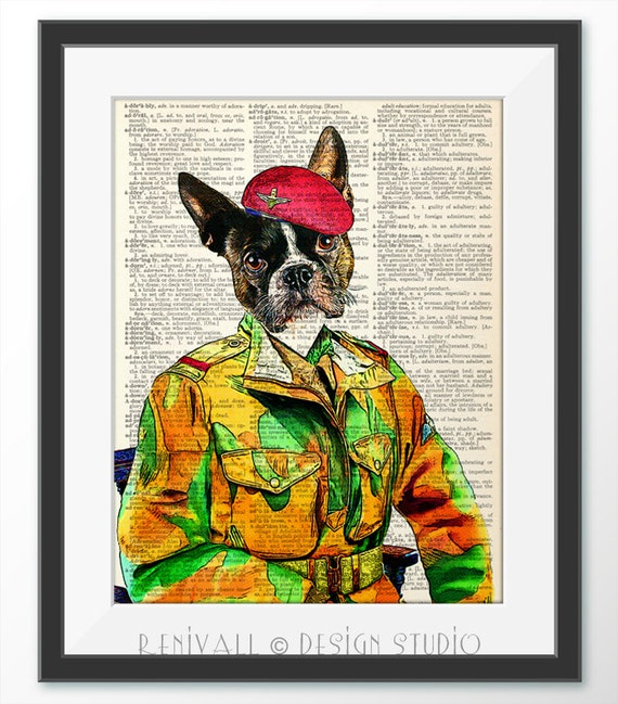 Boston Terrier Military Soldier Dog Print Dictionary Art