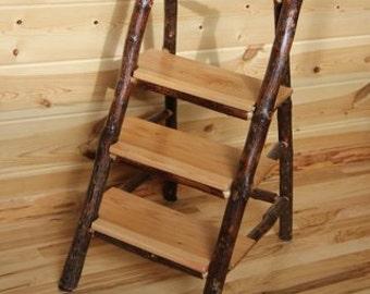 Hickory log step stool