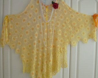 Plus Size Sunshine Yellow Orange Vintage Cotton Crochet Festival Lagenlook Asymmetrical Layering Top Tunic Poncho Dress