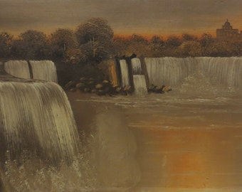 Early 20th Century Original H L Herley Oil On Board Painting - Niagara Falls At Dusk - Listed Artist