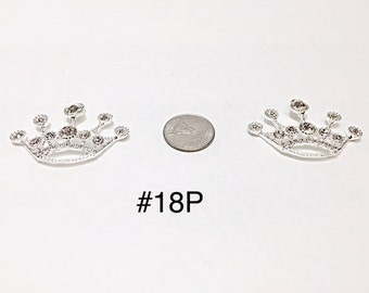 1 or 2 pc- 50 MM Large Silver Princess Crown inspired Rhinestone Pendant For Bubblegum Necklace Jewelry