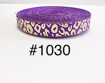 "2/3/5 yard - 7/8"" Gold Dot on Purple Grosgrain Ribbon Hair bow"
