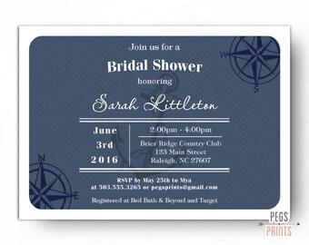 Nautical Bridal Shower Invitation (Printable) Nautical Theme Bridal Shower Invitation - Navy Bridal Shower Invitations - Tying the Knot