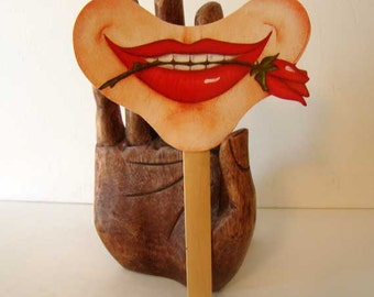 Smile on a Stick photo booth prop, vintage photo booth prop, face photo booth prop, smile face mask