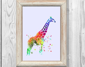 Giraffe Poster  Watercolor Print  Art Print Giclee Wall Illustrations Art Print  Wall Decor  Home Decor Instant Digital Download