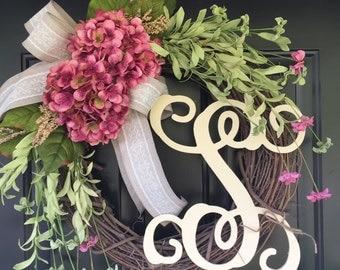 Wreath - Shabby Chic Wreath - Spring Wreath -Summer Wreath - Pink Hydrangea Wreath -Monogram Wreath -Gift Ideas - Country Wreath - Gifts