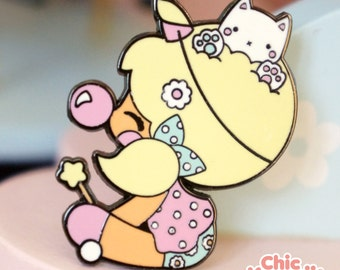 Chic Kawaii enamel pin unicorn girl with cute cat, lovely magic pastel pins